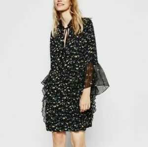 Zara S black floral ruffle frills mini dress
